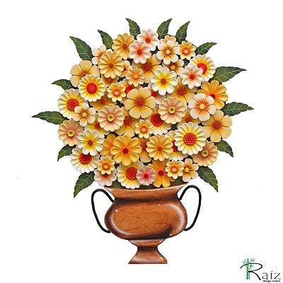 Quadro Tipo Ânfora Vaso De Flores Recortado Madeira Amarelo