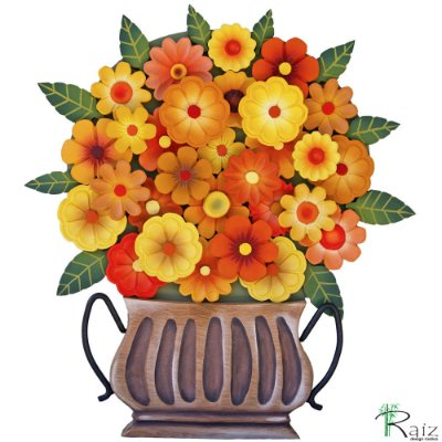 Quadro Tipo Ânfora Vaso De Flores Recortado Madeira Amarelo e Laranja