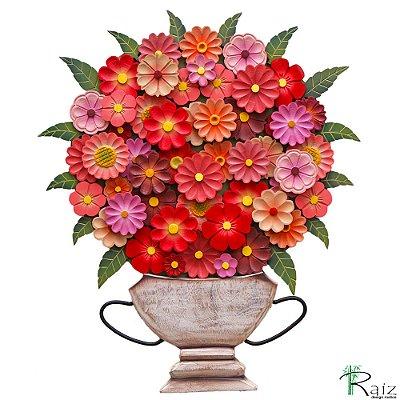 Quadro Tipo Ânfora Vaso De Flores Recortado Madeira Vermelho e Rosa
