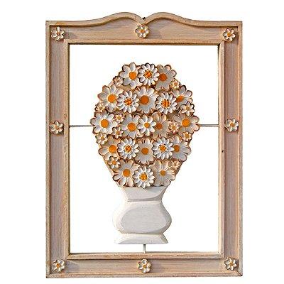 Quadro Vaso de Flores Brancas Vazado Madeira 70cm