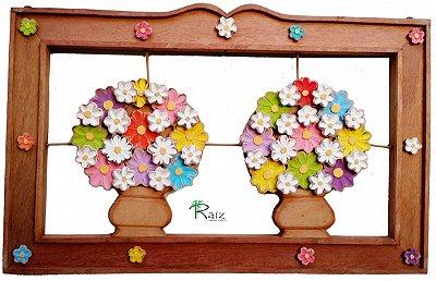 Quadro Vaso de Flores Coloridas Duplo Vazado Moldura Natural