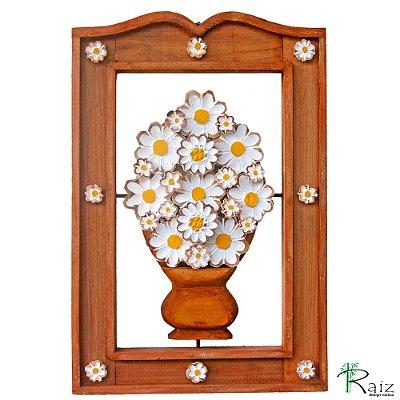 Quadro Vaso de Flores Brancas Vazado Madeira Moldura Encerada 54cm