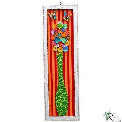 Quadro Vaso De Flores com Borboletas Fundo Listrado Colorido