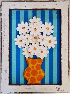 Quadro Vaso de Flores Listras Azul Linha Moderna (40x30cm)