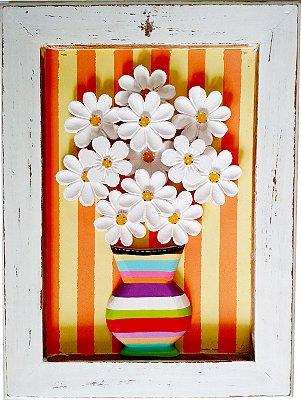 Quadro Vaso de Flores Listras Linha Moderna 2 (40x30cm)