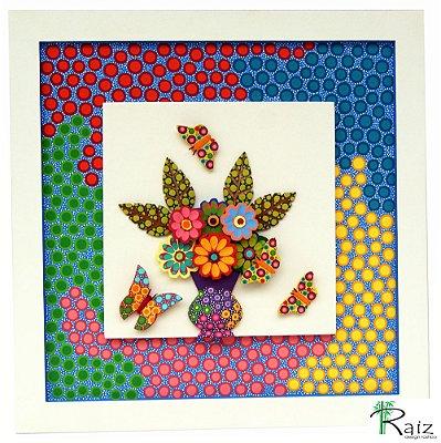 Quadro Vaso de Flores - Peças Sobrepostas  Pintura 100% Manual Linha Moderna 3 (45x45cm)