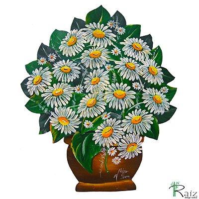 Quadro Vaso de Flores Recortado em Chapa de Ferro Margaridas