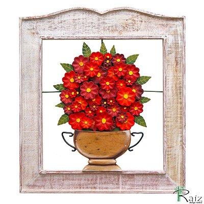 Quadro Vazado com Vaso de Flores Vermelho