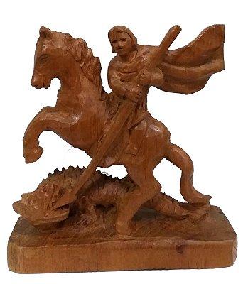Imagem de São Jorge Esculpida a Mão Madeira 13cm