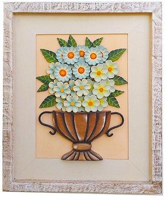 Quadro de Flores Tons Azuis Com Paspatur Linha Luxo (60x50cm)