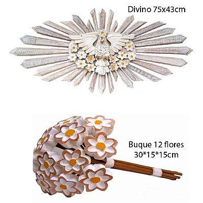 Kit Divino Espírito Santo 75cm +  Buquê de Flores 30cm