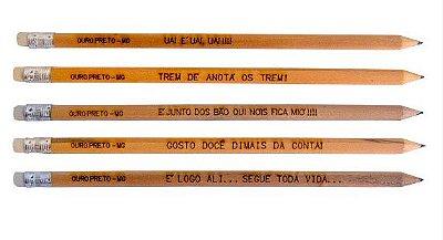 Kit 5 Lápis Frases Mineiras Queimadas Direto na Madeira Personalizados Ouro Preto MG