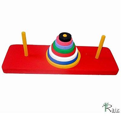 Brinquedo Pedagógico de Madeira Torre De Hanói