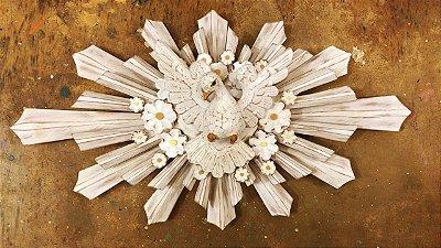 divino espírito santo com flores resplendor branco linha luxo 75 cm