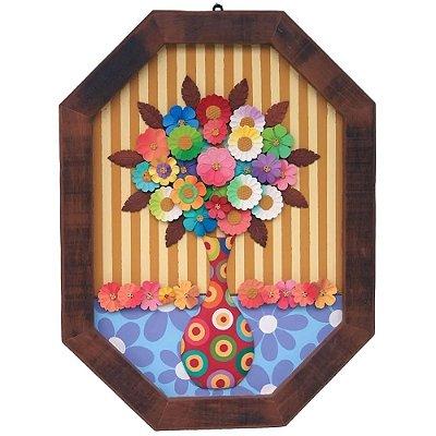 Quadro Flores Coloridas Madeira Rustico (80x60)cm