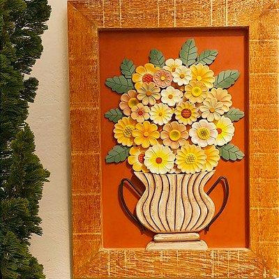 Quadro Decorativo Rústico Em Madeira Vaso De Flores Amarelas Luxo 70 x 50 cm