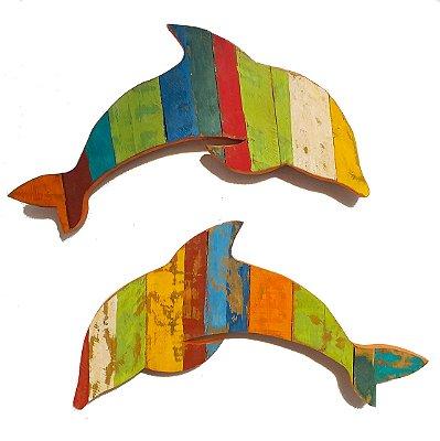 Quadro Decorativo Rústico Artesanal Golfinho em Madeira de Demolição Cada Peça Possui 30 x 57 cm (Valor da UNIDADE)