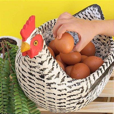 Galinha de Madeira Porta Ovos Artesanal G (sem os ovos)