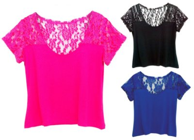 Kit 3 Blusas Manga Curta Viscolycra Renda