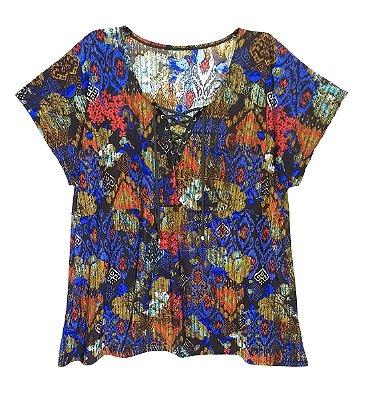 Blusinha Feminina Plus Size Estampa Azul Decote V Com Cordão