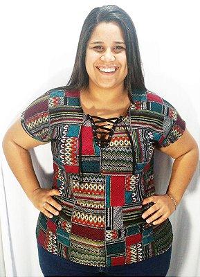 Blusinha Feminina Plus Size Estampada Decote V Com Cordão