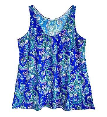 Blusinha Regata Evasê Liganete Estampa Azul Plus Size Até 56