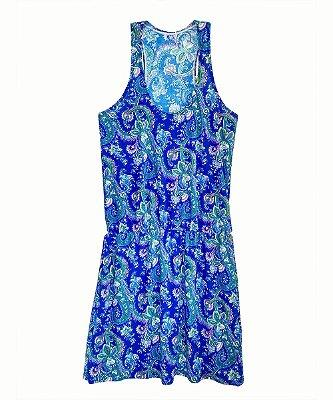 Vestido Elástico na Cintura Costa Nadador Estampa Azul Plus Size Até 56