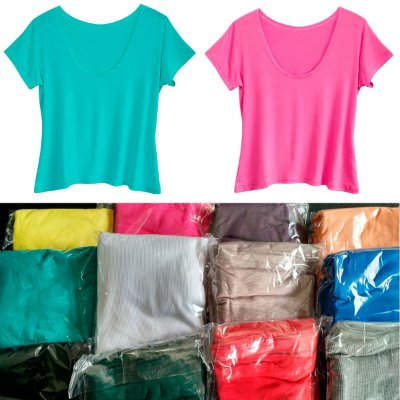 Kit Camisetas Baby Look Feminina Cores Lisas