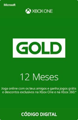 Assinatura Xbox Live Gold (3, 6,12 meses) - Xbox One, Xbox 360 e Windows 10 - Digital