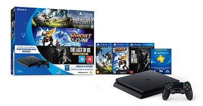 Playstation 4 BUNDLE  Slim 500gb Console + 3 jogos + psn plus 3 meses