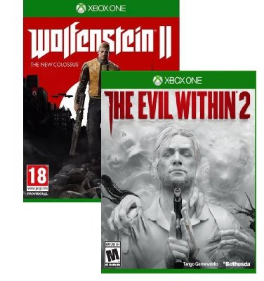 Kit Bethesda Wolfenstein 2 The New Colossus + The Evil Within 2 XBOX ONE MIDIA FISICA
