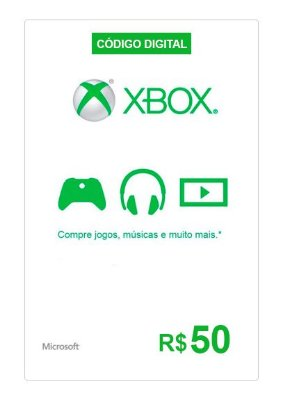 Cartão Presente Xbox Live R$50 R$100 R$200 Xbox One Xbox 360 Windows 10 Digital