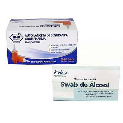 LANCETA DE SEGURANÇA 28G 100 UNIDADES + ALCOOL SWABS