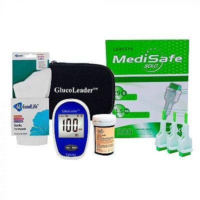 KIT PLUS 4: 1 Medidor Glucoleader + 1 Frasco Tiras Reagentes + 200 Lancetas + Meia GoodLife + 1 Estojo porta kit