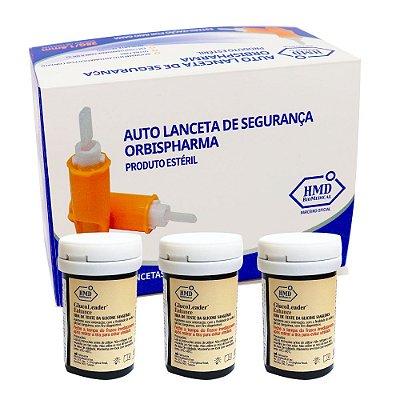 Kit: 3 tiras reagentes + 1 caixa de lanceta de seg. 28G 100 und.