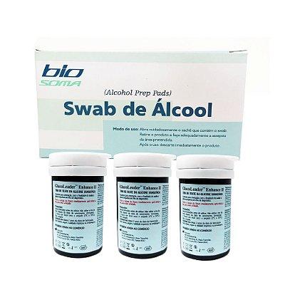 3 frascos de tiras reagentes + BÔNUS 100 unids. de álcool swabs