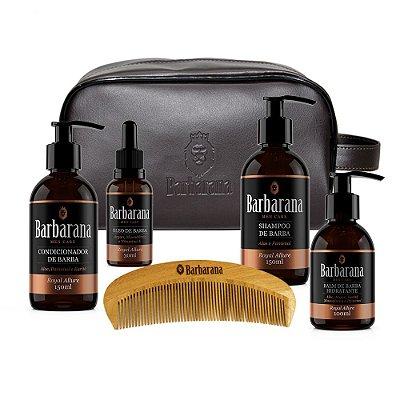 Kit Shampoo + Condicionador + Balm Hidratante + Óleo + Necessaire + Pente de Madeira