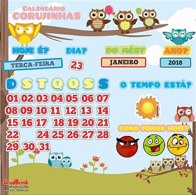 Cartaz Para Sala De Aula Calendário Corujinhas