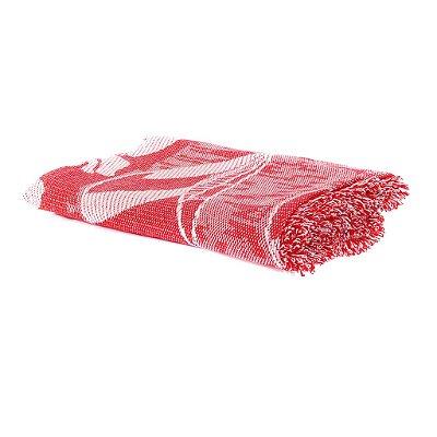 Cobertor Casal King Vermelho com Branco 100% Algodão