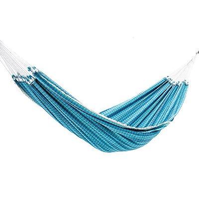 Rede de Dormir Algodão Lonada Xadrez Azul Celeste