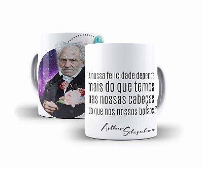 """Caneca Schopenhauer """"A Nossa Felicidade Depende Mais do Que Temos Nas Nossas Cabeças do Que Nos Nossos Bolsos"""""""