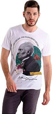 """Camiseta Schopenhauer """"O Homem É Livre Para Fazer O Que Quer, Mas Não Para Querer O Que Quer"""""""