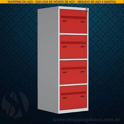 Arquivo de Aço para pasta suspensa com 4 gavetas W3 - 60cm Profundidade