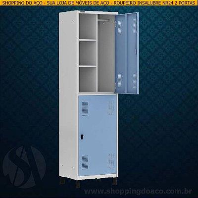 Roupeiro de Aço Insalubre NR24 para Vestiário 2 Portas Grandes W3