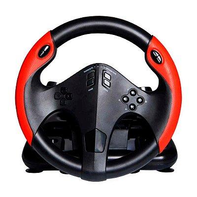 Volante Gamer com Marcha e Pedal Conexão USB Material Plás