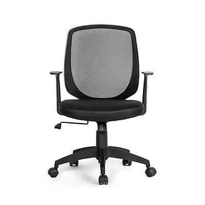 Cadeira Office Mid Com Braços Fixos Preto Multilaser - GA18
