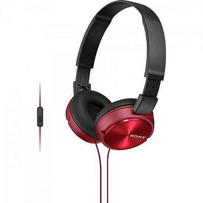 Fone de Ouvido com Microfone MDR-ZX310AP Preto/Vermelho SONY