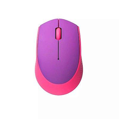 Mouse Sem Fio 2.4GHZ USB Rosa E Roxo Multilaser - MO258