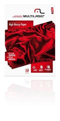 Glossy Paper C/150 Gr Tam. A4 Multilaser C/ 10 Fls - Pe002