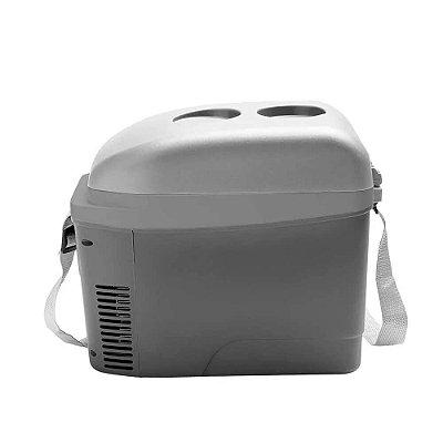 Mini Cooler 2 7L Cinza Fosco Com Porta Copos 12V Com Alca -